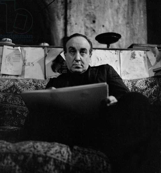 Feliks Topolski in his Studio, London, UK (b/w photo)