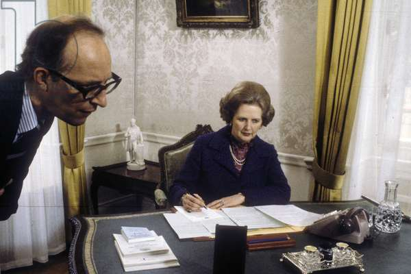 Margaret Thatcher with Private Secretary (name unknown), 10 Downing Street, London, UK, 1979 (photo)