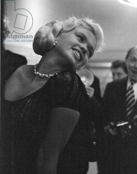 Jayne Mansfield at a Press Conference, Dorchester Hotel, London, UK, 1957 (b/w photo)
