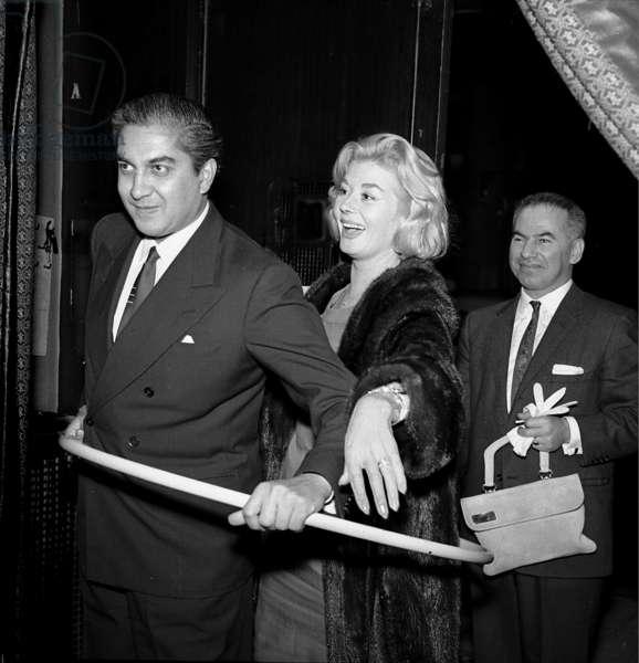 Maharaja of Cooch Behar with Gina Egan, Stork Room, London, UK, 1956 (b/w photo)