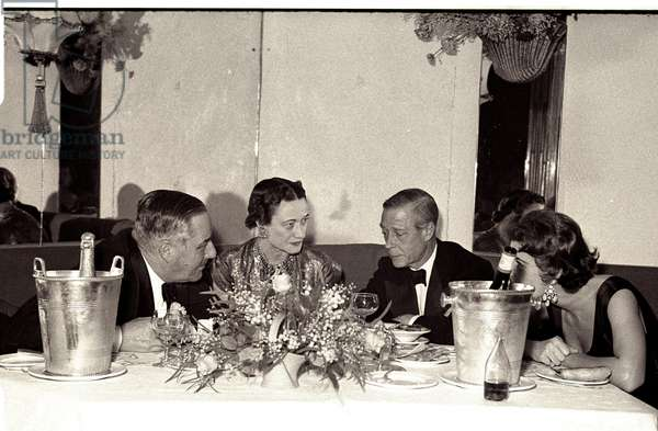 Duke and Duchess of Windsor with the Earl of Dudley (1st left) and an unidentified lady, Quaglino's Allegro Club, London, UK, 1953 (b/w photo)