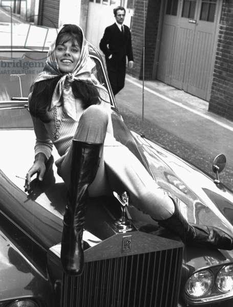 "Countess ""Tiger"" Cowley with Rolls-Royce, Mayfair, London, 1968 (b/w photo)"