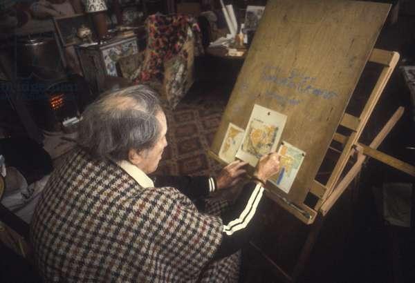 Duncan Grant in his Studio at Charleston, Sussex, UK, 1975 (photo)