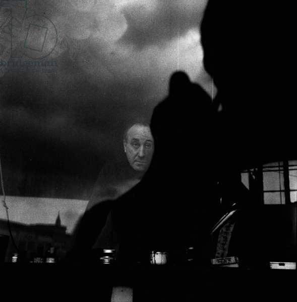 Feliks Topolski in his South Bank Studio, London, UK, 1959 (b/w photo)