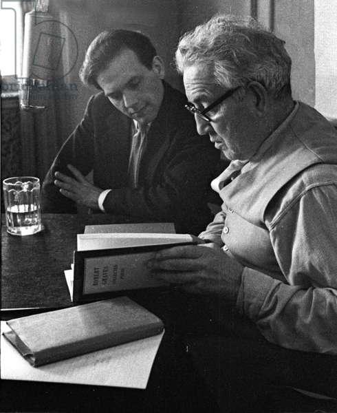 Robert Graves and recording Editor, 1955 (b/w photo)