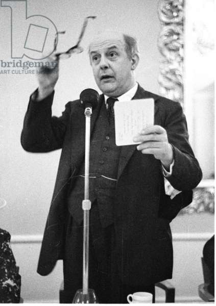 Poet John Betjeman at Literary lunch, Quaglino's, London, UK, 1958 (b/w photo)