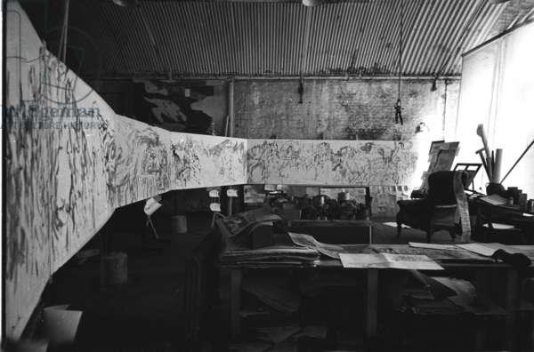 Feliks Topolski's Studio, London, UK (b/w photo)