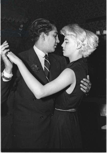 Maharaja of Cooch-Behar and dancer Vicky Martin, Stork Room, London, UK, 1953 (b/w photo)