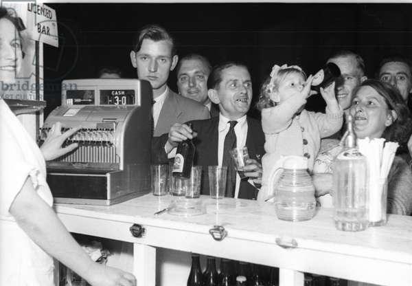 Licenced Bar at Battersea Park Fun-Fair, London, UK, 1953 (b/w photo)