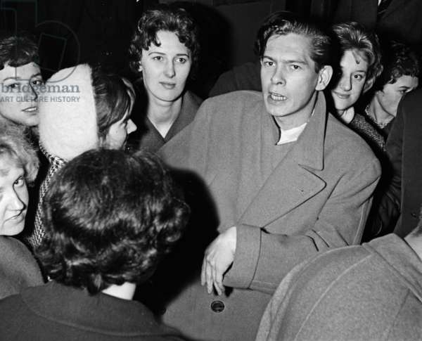 Johnny Ray with fans, London, UK, 1954 (b/w photo)