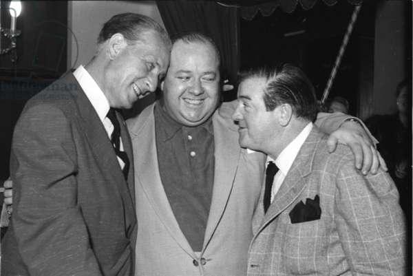 Bud Abbott and Lou Costello with Stubby Kaye, Stork Room, London, UK, 1954 (b/w photo)
