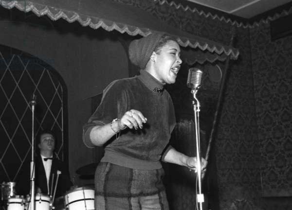 Billie Holiday at the Stork Room, London, UK, 1954 (b/wphoto)
