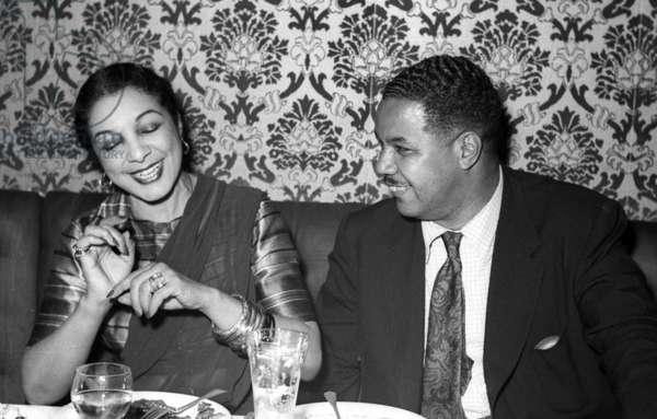 Princess Shari and U.S. musician Benny Payne, Stork Room, London, UK, 1956 (b/w photo)