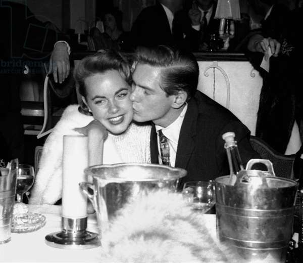 Johnny Ray with Terry Moore, Embassy Club, London, UK, 1954 (b/w photo)