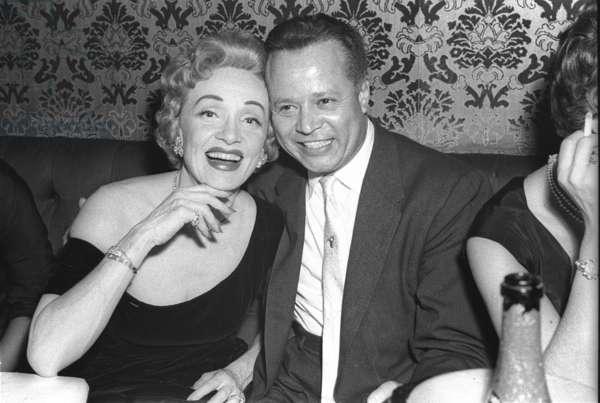 Marlene Dietrich with Billy Daniels, Stork Room, London, UK, 1956 (b/w photo)