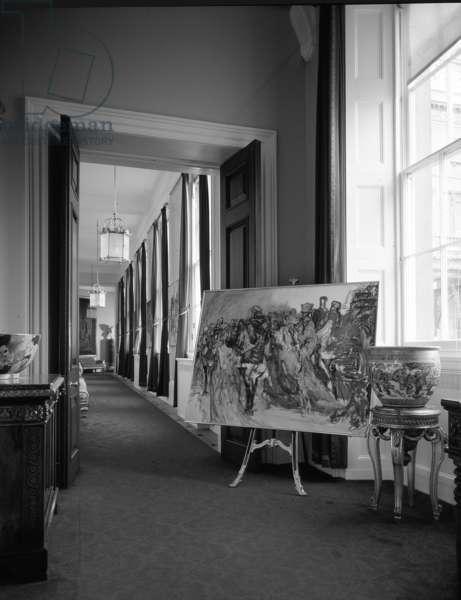 Works by Feliks Topolski, Buckingham Palace, London, UK, 1976 (b/w photo)