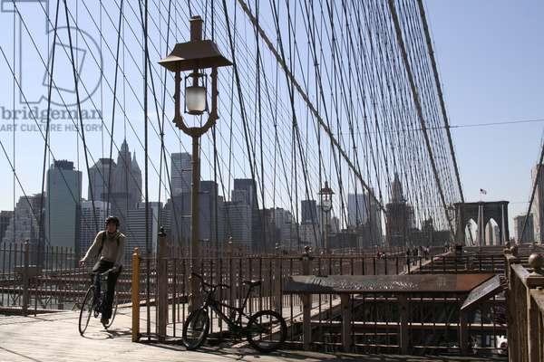 View of Brooklyn Bridge, New york, USA (photo)