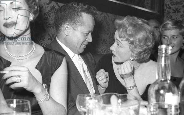 Marlene Dietrich and Billy Daniels, Stork Room, London, UK, 1956 (b/w photo)