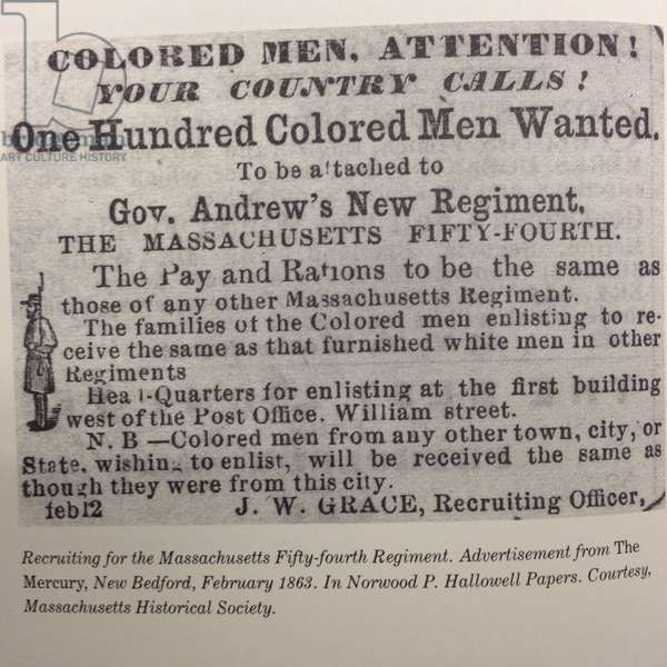 Recruiting for the Massachusetts Fifty-fourth Regiment, Norwood Penrose Hallowell papers, 12th February 1863 (litho)