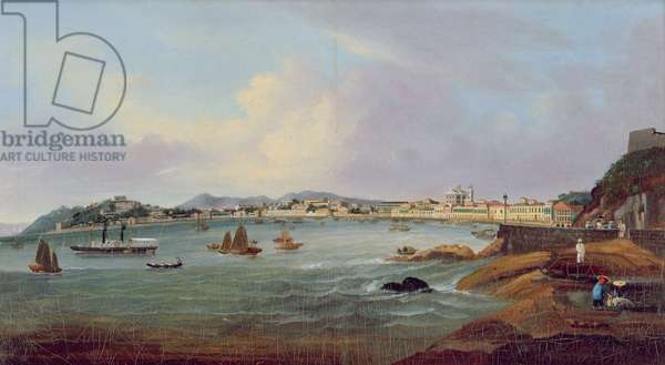 Harbour at Macao, China, c.1855 (oil on canvas)