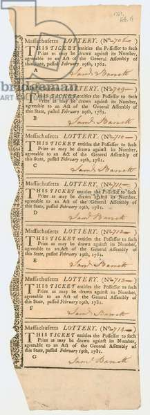 Sheet of Lottery Tickets, Massachusetts Lottery, 1781 (litho)