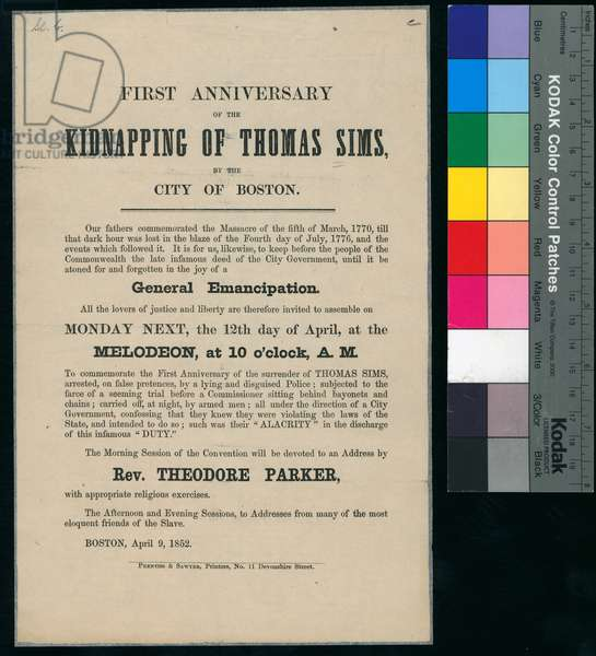 Poster announcing the 'First Anniversary of the Kidnapping of Thomas Sims', by the City of Boston, 1852 (litho)