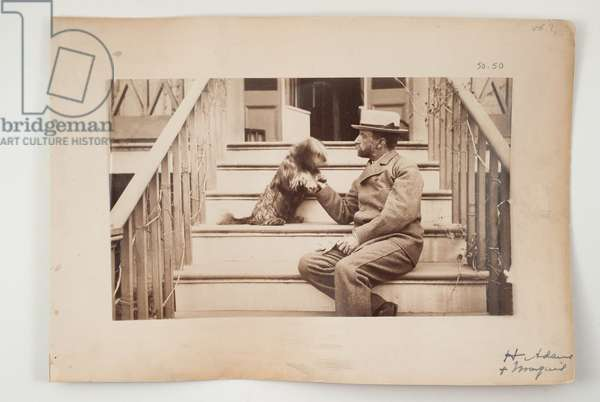 Henry Adams with his dog, Marquis, c.1883 (b/w photo)