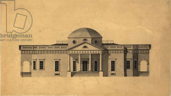 Monticello: 2nd version (west elevation), recto, 1803 (pen & ink with w/c on paper)