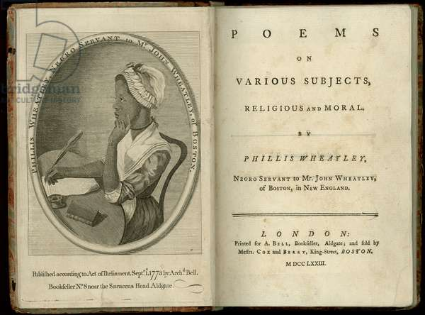 Title page and frontispiece to 'Poems on Various Subjects, Religious and Moral' by Phillis Wheatley (1753-84) published in London, 1773 (engraving)