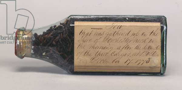Boston Tea Party tea leaves in a glass bottle, collected by T.M. Harris, Dorchester Neck, December 1773