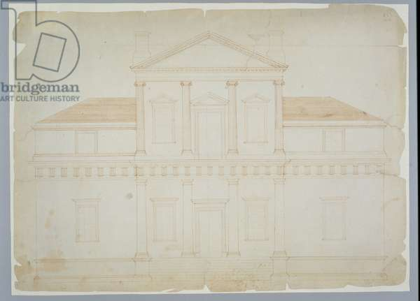 Monticello, First Version (Elevation), probably before March 1771 (brown ink on laid paper)
