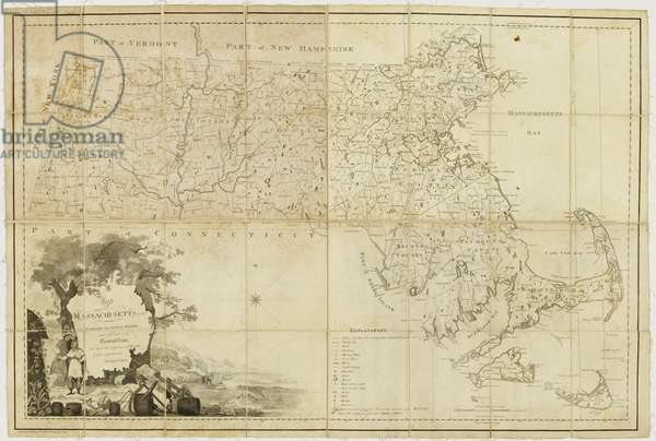 Map of Massachusetts proper: compiled from actual surveys made by order of the General Court and under the inspection of agents of their appointment, 1802 (engraving)