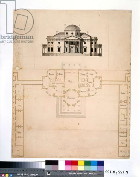 Monticello: 2nd version (plan and west elevation), 1803 (pen & ink and w/c on paper)