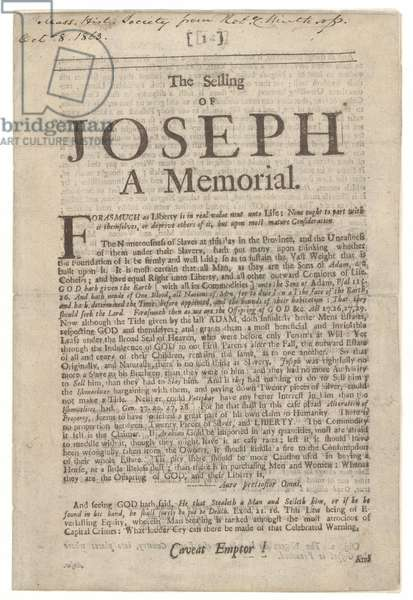 Title page of 'The Selling of Joseph: A Memorial' by Samuel Sewall, 1700 (print)