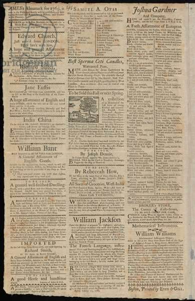 Boston Advertisements for goods subjected to import duties and trade restrictions, from the 'Boston Gazette and Country Journal', 7 November 1768 (litho)