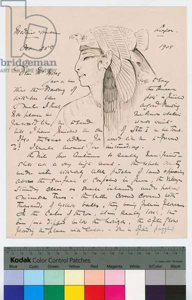 Page 1 of a letter from Howard Carter to Kingsmill Marrs, 25th October 1908 (pen & ink on paper)