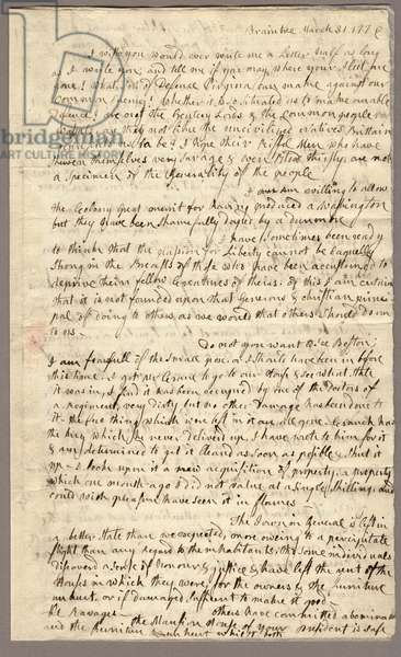 Page 1, Letter from Abigail Adams to John Adams, 31 March - 5 April 1776 (ink on paper)