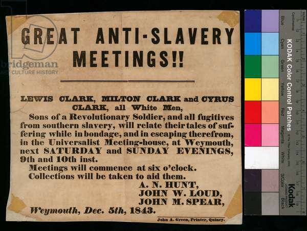 'Great anti-slavery meetings!!', broadside, 5th December 1843 (litho)