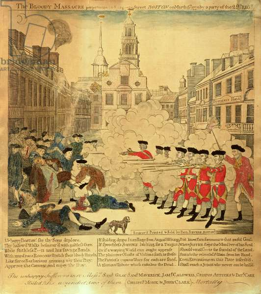 The Bloody Massacre on 5th March 1770, 1770 (coloured engraving)