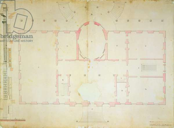 Plan of the President's House, Washington, 1792 (ink wash and pencil on paper)