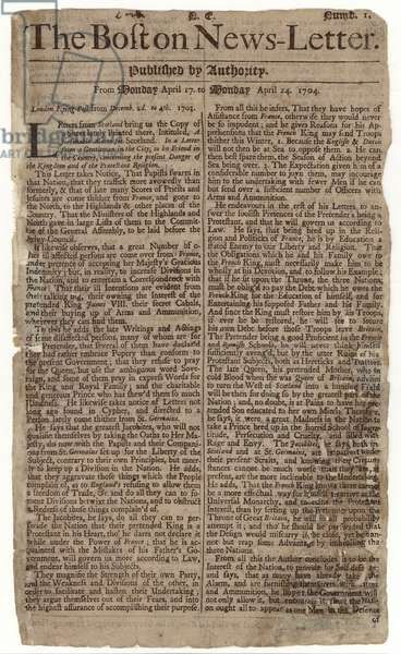 First issue of the 'Boston News-Letter', 1704 (newsprint)