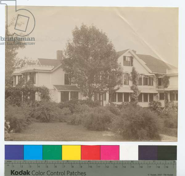 Exterior of 'South Park', home of Kingsmill Marrs, Wayland, Massachusetts (b/w photo)