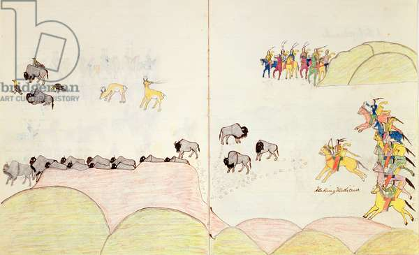 Native American Buffalo Hunt, from a book of sketches made at Fort Marion, St Augustine, Florida, 1877