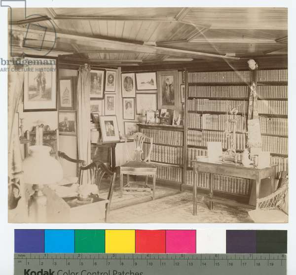 Library of 'South Park', home of Kingsmill Marrs, Wayland, Massachusetts (b/w photo)