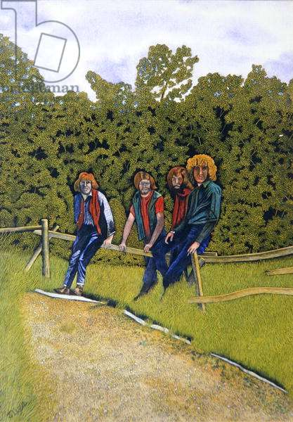 'The Who' sitting on a fence, c.1970 (gouache on paper)