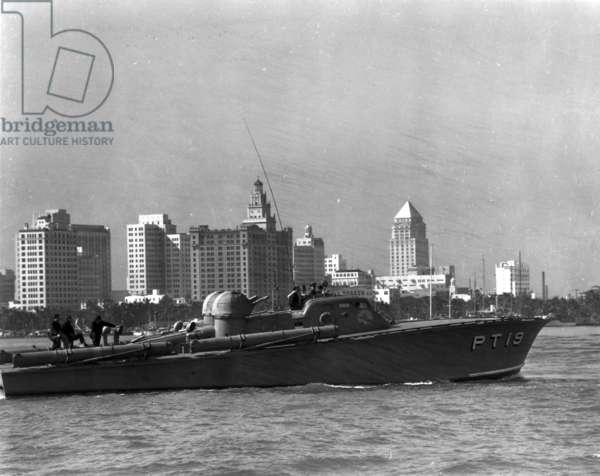 A PT boat on Biscayne Bay, c.1942 (b/w photo)