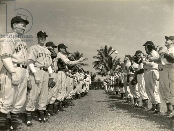 The New York Giants during spring training at Miami Field, 1946 (b/w photo)