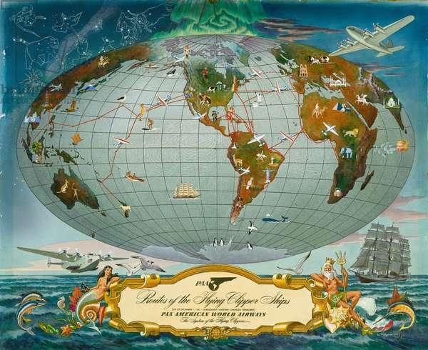 Manuscript Map of the World - Pan American World Airways, c.1942 (colour litho)