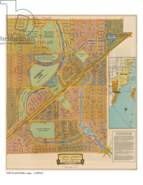 Map of Coral Gables, 1925 (colour litho)