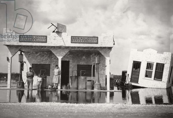 Filling Station, Hialeah, Florida in the 1926 Hurricane, 1926 (b/w photo)